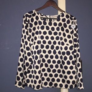 Navy blue polka dot blouse